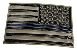 Thin Blue Line American Flag Police Memorial Rectangle Metal