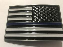 Thin Blue Line Belt Buckle BLUE LIVES MATTER American Flag P