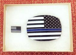 Thin Blue Line Flag Belt Buckle and Lapel Pin