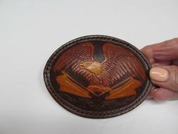 Tooled Leather Eagle Belt Buckle, Men's Never Used