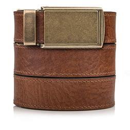 Top Grain Walnut Leather Belt with Brass Buckle