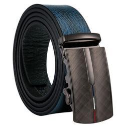 USA Blue Full Grain Leather Mens Belts Adjustable Ratchet Dr