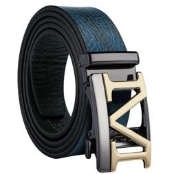 USA Blue Leather Mens Belts Designer Hollow M Ratchet Buckle