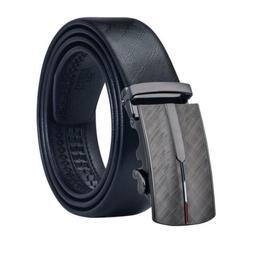 USA Dispatch Black Leather Mens Belts Removable Ratchet Buck