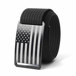 GRIP6 USA Flag Men's Belt, No-Holes Sliding Aluminum Buckle,