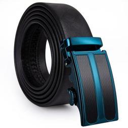USA Solid Black Genuine Leather Belts Black Blue Buckle Mens
