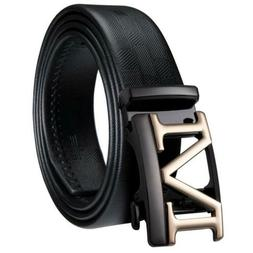 "USA Solid Black Genuine Leather Belts ""M"" Gold Buckle Mens D"