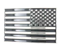 USA U.S. American Flag Patriotic Black/Silver Metal Belt Buc