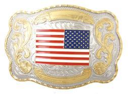 USA U.S. American Flag Patriotic Western Style Large Metal B