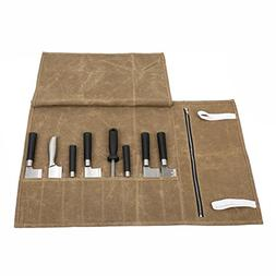 Useful Waxed Canvas Chef's Knife Roll Bag Waterproof Tool Ro