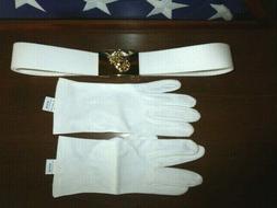 USMC White Dress Belt & Buckle & Gloves