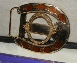 Vtg Horseshoe Gold & Brown Belt Buckle Blank w/ 39mm x 30mm