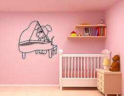 Wall Stickers Vinyl Decal Cute Puppy Dog Piano Music for Kid