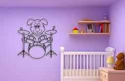 Wall Stickers Vinyl Decal Positive Puppy Dog Drum Music for