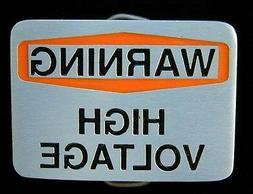 warning high voltage belt buckle buckles new