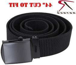 "Web Belt Black Military Nylon Web Belt & Buckle 44"" CUT TO F"