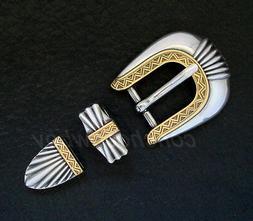 """WESTERN ANTIQUE GOLD BELT BUCKLE SET FITS 3/4"""" BELT for 19mm"""
