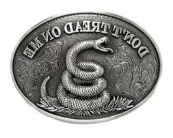Nocona Western Belt Buckle Oval Snake Don't Tread On Me 3710
