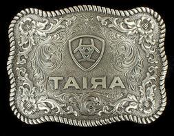 Ariat Western Belt Buckle Scalloped Logo Rectangular Silver