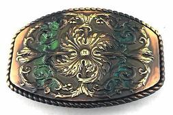 WESTERN COWBOY COWGIRL FLORAL ENGRAVED COPPER PATINA ROPE BE