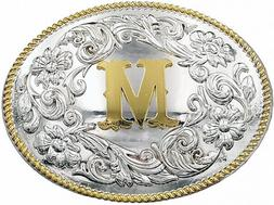 Western Initial Large Belt Buckle Silver Gold Rope Design Co
