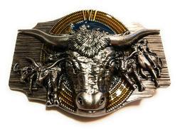 ✖ WESTERN STEER BULL Rope Cowboy Rodeo Style ✖ Belt Buck