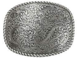 Western Style Engraved and Silver Plated Decorative Belt Buc