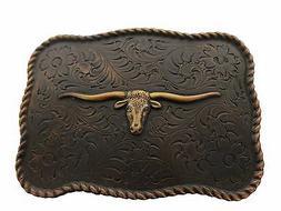 WESTERN TEXAS LONGHORN STEER BULL TROPHY FOR LEATHER COWBOY