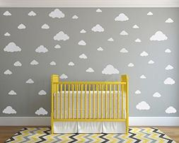 White Clouds Sky Wall Decals - Easy Peel + Stick 50 Clouds P