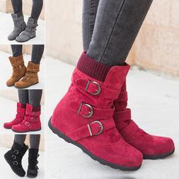 Winter Women Ankle Boot Short Snow Boots Shoes Belt Buckle Z