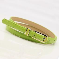 Woman's Skinny Leather Belts Thin Waistband Narrow Enamel Pi