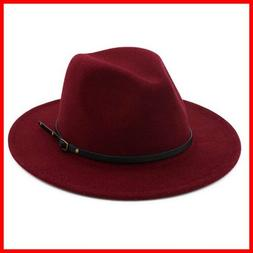 Women Belt Buckle Fedora Hat Claret Red FREE SHIPPING
