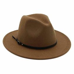 Lisianthus Women Belt Buckle Fedora Hat Dark-Camel