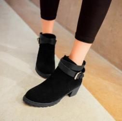 Women Belt Buckle Shoes Suede Thick Mid-Heel Martin Boot Ank