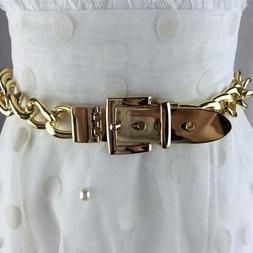 Women Belt Wide Golden Silver Metallic Chain Straps Adjustab