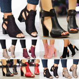 Women Block Mid High Heels Chunky Sandals Open Toe Ankle Str