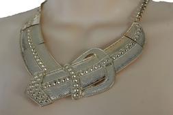 Women Fashion Gold Metal Chain Short Necklace Belt Buckle Ch