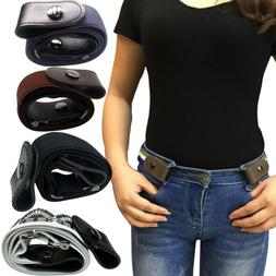 Women Men Buckle-free Elastic Belt Waist Band Pants Jeans No