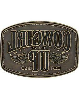 Montana Silversmiths Women's Brass Cowgirl Up Wings Belt Buc