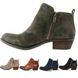 Women's Chunky Booties Low Block Heels Ankle Boots Shoes Zip