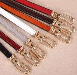 Women's Cowskin Thin Belt Pin Buckle Genuine Leather Decorat
