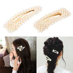 Women's Girls Pearl Hair Clip Hairpin Slides Grips Barrette