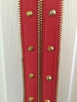 Women's Red Belt Wide Gold Zipper & Buckle Accent Size Small