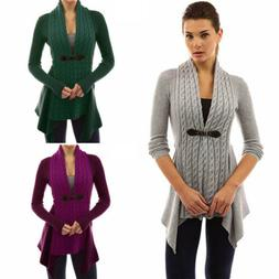 Women's Slim Long Sleeve Cardigan Belt Buckle Sweater Coat T