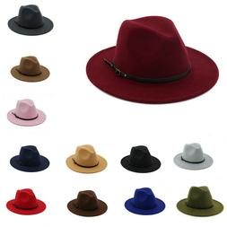 Women's Wool Felt Outback Hat Panama Hat Wide Brim Women Bel