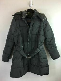 Women's Tommy Hilfiger Zip Up Puffer Coat W/Hood & Belt Buck