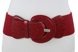 Women Wide Faux Leather Elastic Band Belt Buckle Red Color P