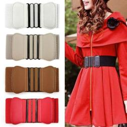Women Wide Waist Belt Buckle Thick Elasticated Stretch Belts