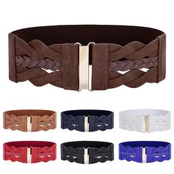 Womens Belt Buckle Braided Leatherette Leather Accessories G