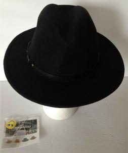 LISIANTHUS Womens BELT BUCKLE FEDORA HAT Black NEW